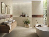 Nux: l'effetto pietra di FAP ceramiche che veste l'intera casa di contemporaneità.