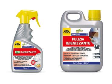 FILA Surface Care Solutions: dopo la pulizia di fondo si può  igienizzare. E non viceversa. Nuovi prodotti Rapidsan e Sanifast.