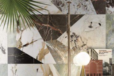 Riflessi art déco per i marmi reinterpretati da Ceramiche Keope nella collezione 9CENTO.